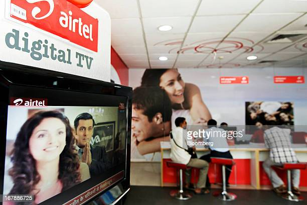 A Bharti Airtel Ltd digital TV stands on display at the company's flagship store in Mumbai India on Thursday May 2 2013 Bharti Airtel India's largest...