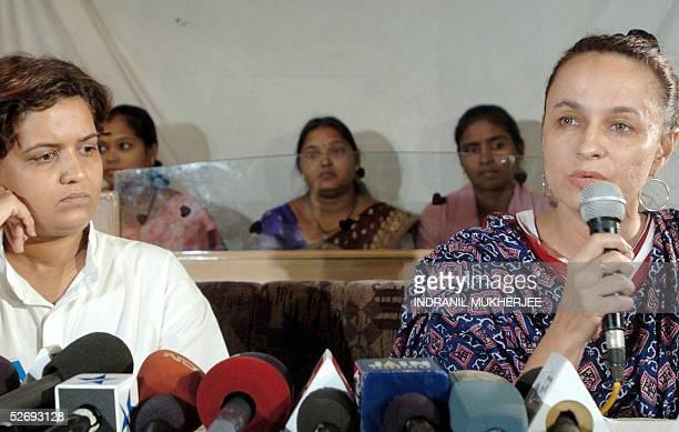 Bhartiya Bargirls Union President Varsha Kale listens to filmmaker Soni Razdan announce her support towards the fight against closure of dance bars...