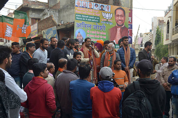 Bhartiya Janata Party candidate for Member of the Legislative Assembly in Punjab Anil Joshi campaigns in Amritsar on January 28 2017 State Assembly...