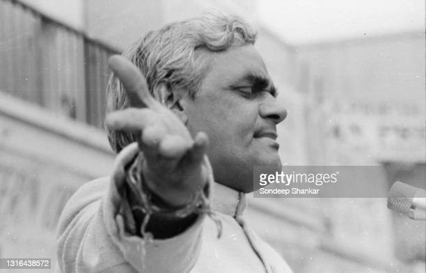 Bhartiya Janata party leader Atal Bihari Vajpayee addressing large crowds in New Delhi during campaigning in December 1979.