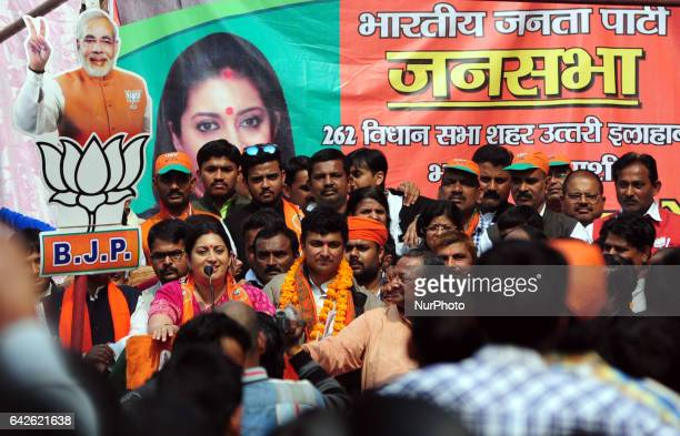 Bhartiya Janta Party leader and textile minister Smriti Irani speaks during a public gathering before Uttar Pradesh's assembly elections in Allahabad...