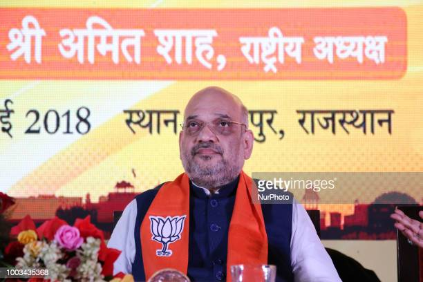 Bhartiya Janta Party President Amit Shah and Rajasthan Chief Minister Vasundhara Raje during the 'Social Media Volunteer Meet' in Jaipur Rajasthan...