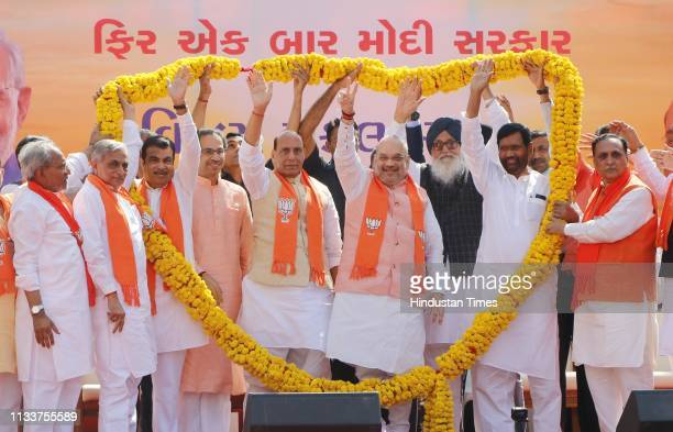 Bhartiya Janta Party supporters felicitate Union Home Minister Rajnath Singh BJP National President Amit Shah Union Minister Nitin Gadkari Shiv Sena...