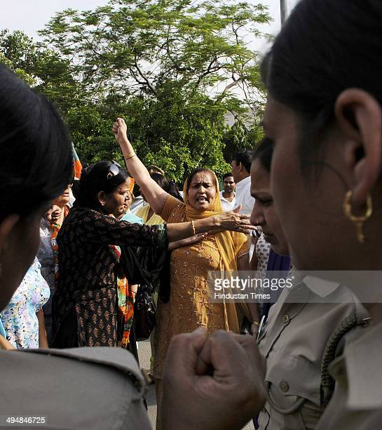 Bhartiya Janta Party women wing took out a protest against the recent gang rape and murder of two Dalit sisters in Badaun in Uttar Pradesh and...