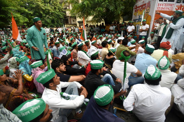 IND: Bhartiya Kisan Union-Tikait Members Protest Outside Noida Authority