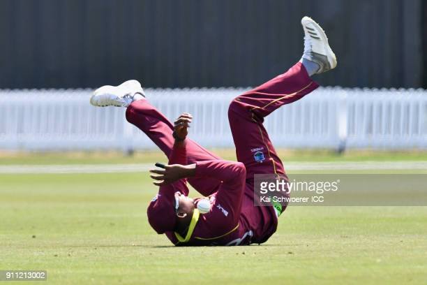Bhaskar Yadram of the West Indies misses a catch during the ICC U19 Cricket World Cup Plate Final match between Sri Lanka and the West Indies at Bert...