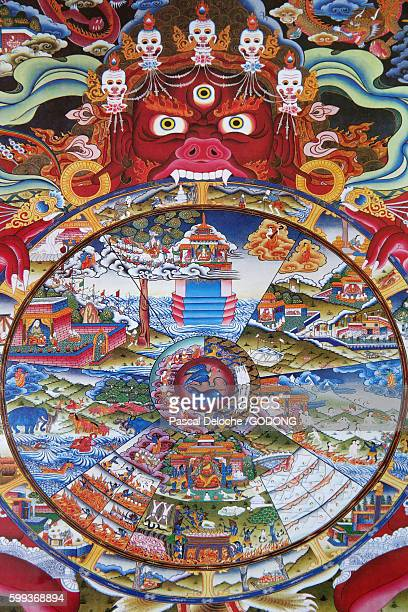bhavacakra or wheel of becoming or wheel of life used primarily in tibetan buddhism. - karma stock photos and pictures