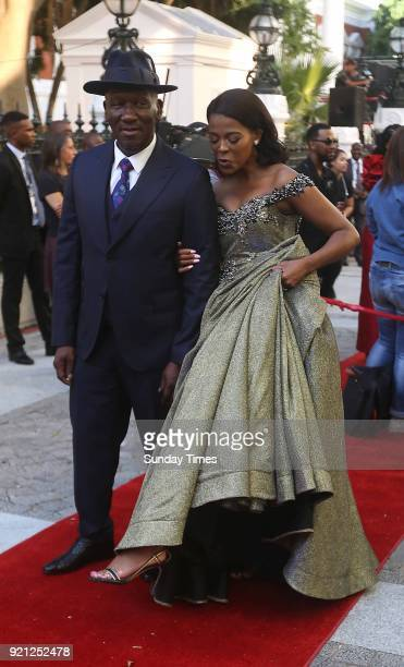 Bheki Cele and his wife Thembeka Ngcobo on the red carpet at the State of the Nation Address 2018 in Parliament on February 16 2018 in Cape Town...
