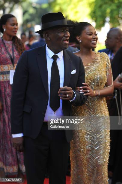 Bheki Cele and Wife Thembeka Ngcobo arrives at the State of the Nation Address on February 13 2020 in Cape Town South Africa The State Of The Nation...