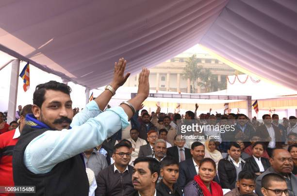Bhim Army Chief Chandrashekhar Azad arrives to pay tribute to BR Ambedkar on his death anniversary at Parliament House Lawns on December 6 2018 in...