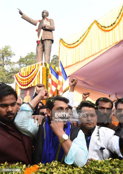 Bhim Army Chief Chandrashekhar Azad speaks to the media after paying tribute to BR Ambedkar on his death anniversary at Parliament House Lawns on...