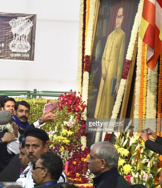 Bhim Army chief Chandrashekhar pays tribute to BR Ambedkar on the occasion of Mahaparinirvan Diwas at Parliament House Lawns on December 6 2018 in...