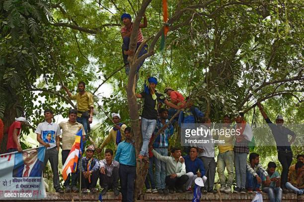 Bhim Army members protest against injustice towards Dalits in Saharanpur at JantarMantar on May 21 2017 in New Delhi India The development comes...