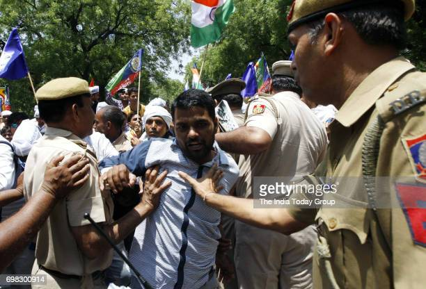 Bhim Army supporters during a protest against BJP Govt at Jantar Mantar in New Delhi