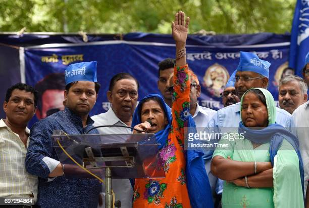 Bhim Sena leader Chandrashekhar's mother Kamlesh Devi during a protest over the arrest of Bhim Sena leader Chandrashekhar and other leaders at Jantar...