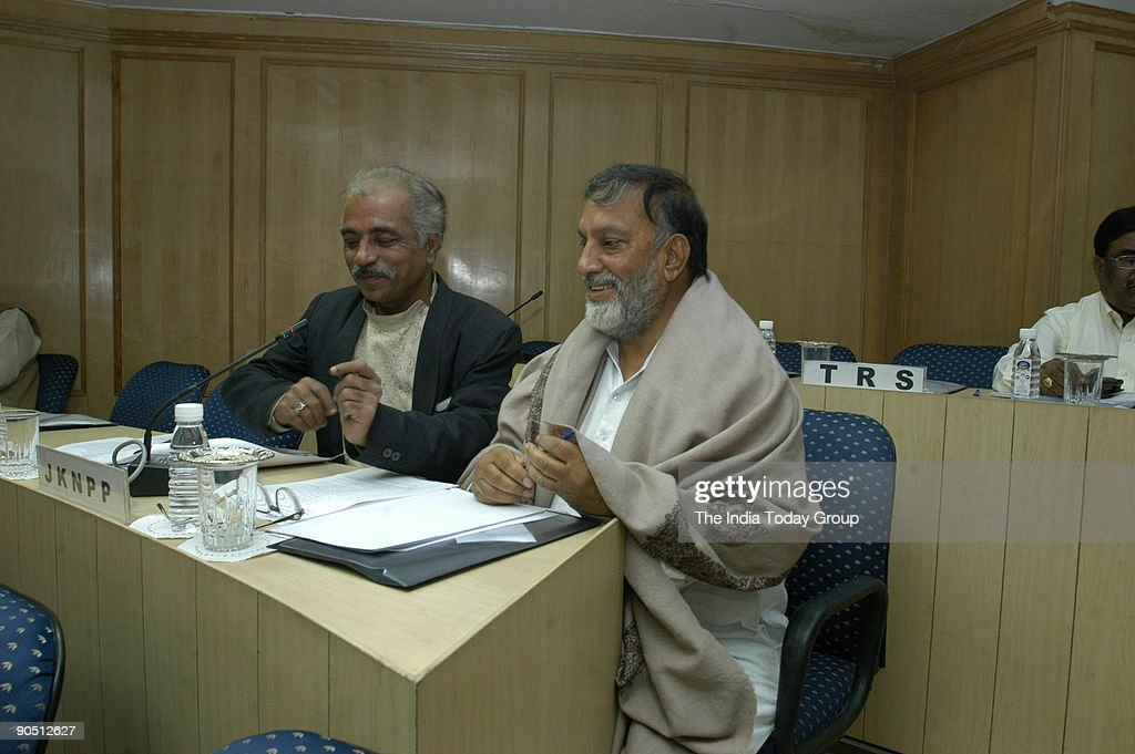 Bhim Singh, Jammu and Kashmir National Panthers Party Chairman and member of Legislative Assembly with All party Members at the meeting with Chief Election Commissioner in New Delhi, India : News Photo