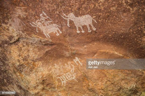bhimbetka rock shelters - prehistoric era stock pictures, royalty-free photos & images