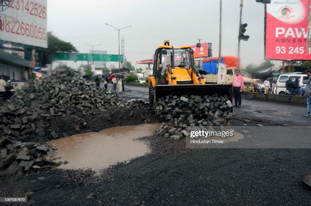 Huge Potholes Appear On Roads After Heavy Rainfall In Mumbai