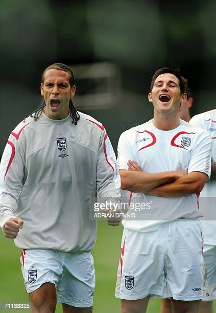 England defender Rio Ferdinand and midfielder Frank Lampard share a light moment during a team training session at Mittelbergstadion in Buhlertal, 06...