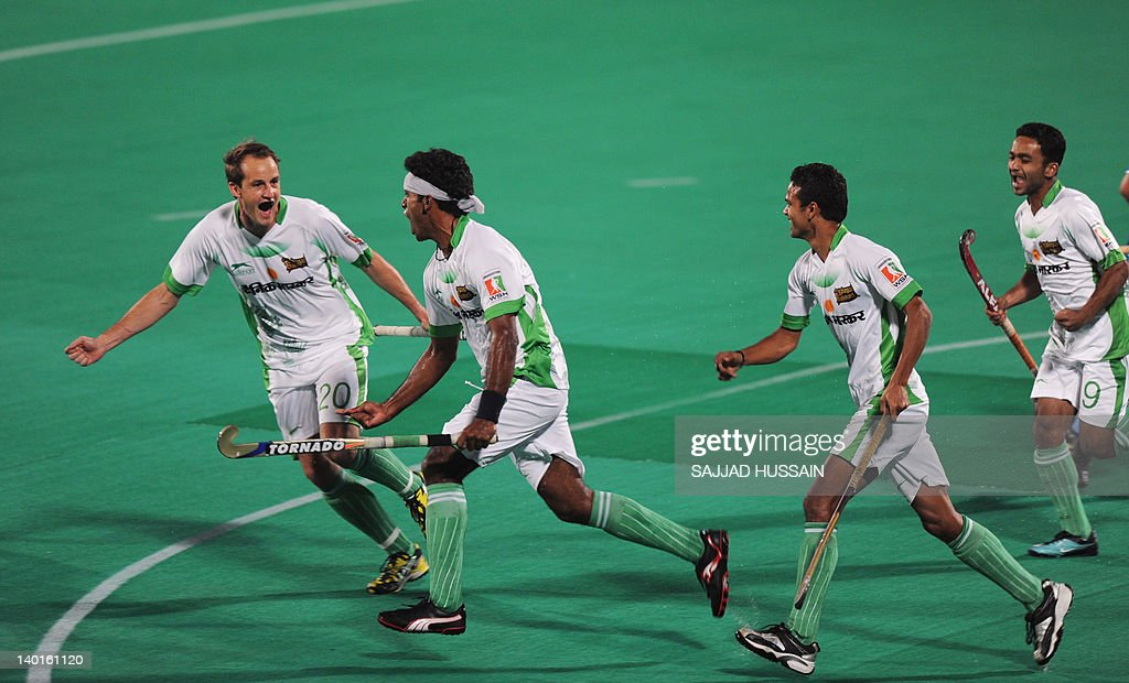 Bhopal Badshahs` players celebrate after Baskaran Laxman scored against Chandigarh Comets during the first match of World Series Hockey tournament at.