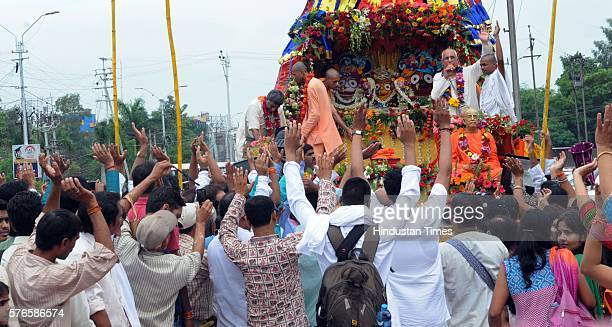 Bhopal Iskcon unit organizes a grand Jagannath Rath Yatra on July 16 2016 in Bhopal India The religious rally started from City mall in MP Nagar...