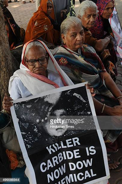 BhopalGasPeeditNirashritpensioners demonstrating at Neelam park on the eve of 31st anniversary of Bhopal Gas tragedy on December 2 2015 in Bhopal...