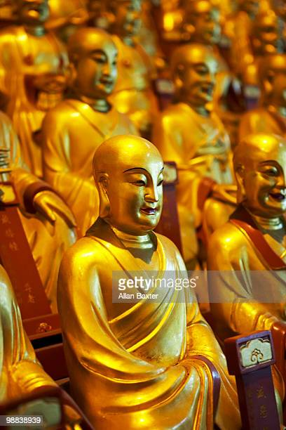 bhudda statues - longhua temple stock photos and pictures