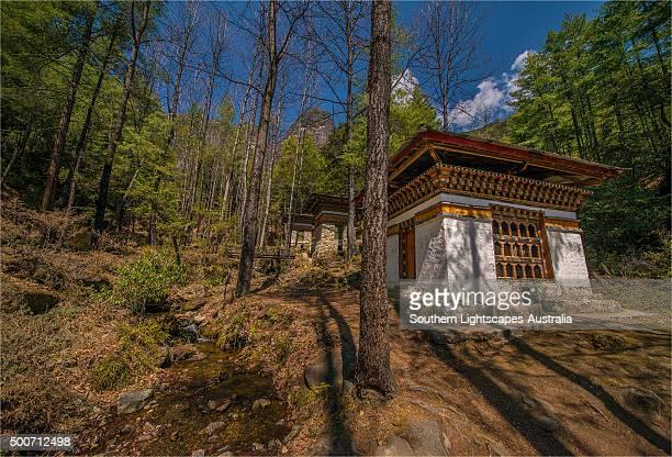 bhuddist prayer houses inthe mountainous area near paro, in eastern bhutan - paro district stock pictures, royalty-free photos & images