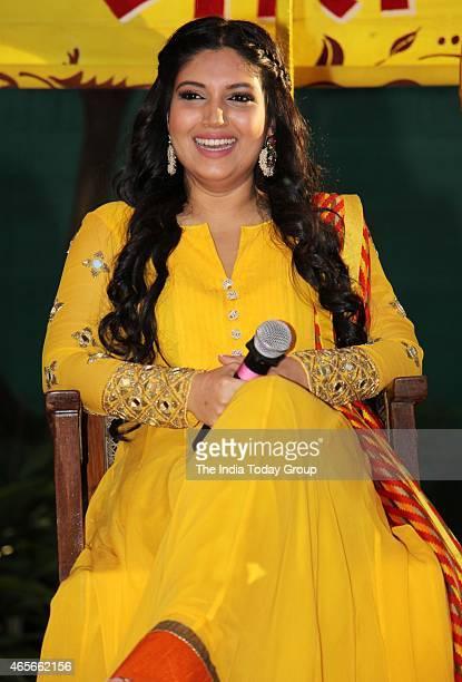 Bhumi Pednekar actress of the movie Dum Laga Ke Haisha celebrating Holi at Yash Raj Studios in Mumbai