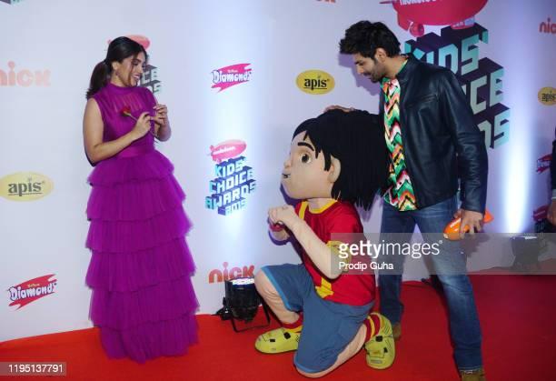 Bhumi Pednekar and Kartik Aryan attends the Nickelodeon The Kids Choice Awards 2019 on December 202019 in Mumbai India