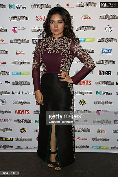 Bhumi Pednekar poses as she arrives at the Indian Film Festival of Melbourne Awards Night at the National Gallery of Victoria on August 15 2015 in...
