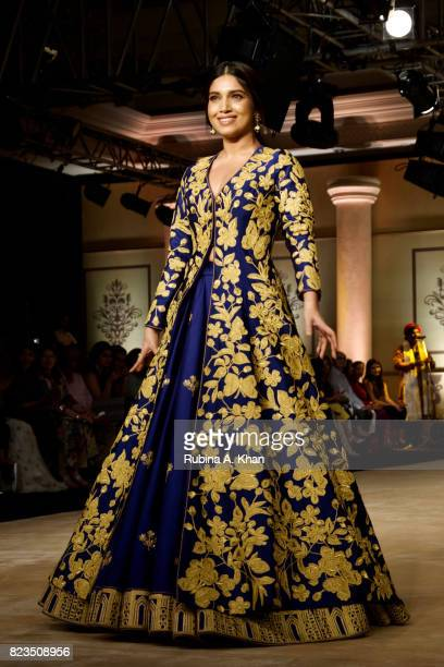 Bhumi Pednekar walks for Reynu Taandon during FDCI's India Couture Week 2017 at the Taj Palace hotel on July 26 2017 in New Delhi India