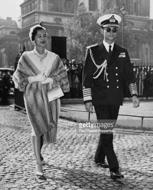 Bhumibol Adulyadej King of Thailand and Queen Sirikit arriving at Westminster Abbey London on the first day of their threeday state visit to Britain...