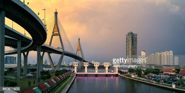 Bhumibol bridge across the Chao Phraya river Bangkok,Thailand.