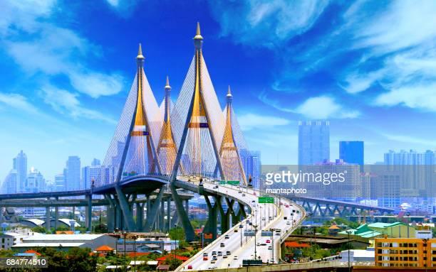 bhumibol bridge bangkok - thailand bildbanksfoton och bilder