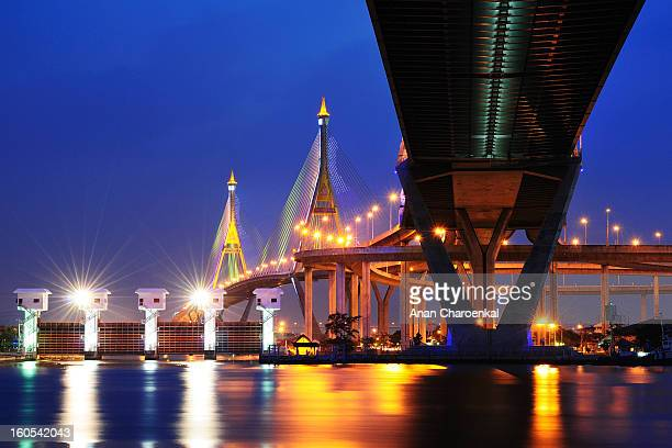 Bhumibol Bridge is one of their bridges that are built for solve the traffic problem in Bangkok.
