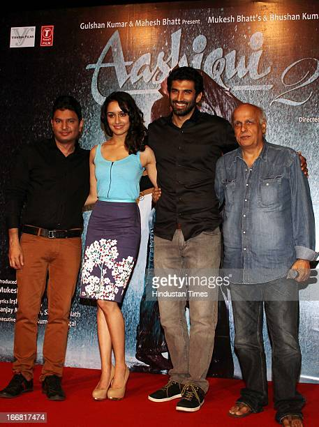 Bhushan Kumar Shraddha Kapoor Aditya Roy Kapur and Mahesh Bhatt at Press conference of upcoming film Aashiqui 2 at Laxmi Studious Film City on April...