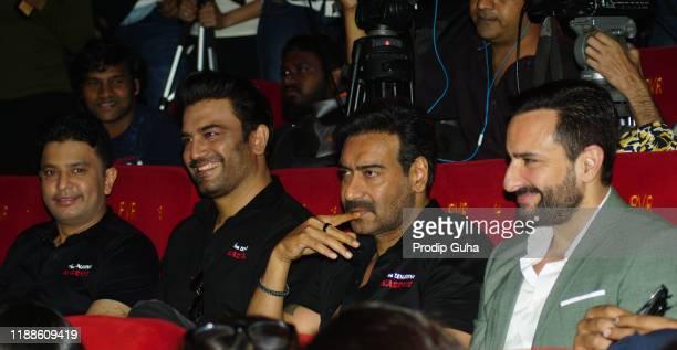 "Bhushan Kumar,Sarat Kelkar, Ajay Devgan and Saif Ali Khan attend the trailer launch of ""Tanhaji The Unsung Warrior"" on November 19, 2019 in Mumbai,..."