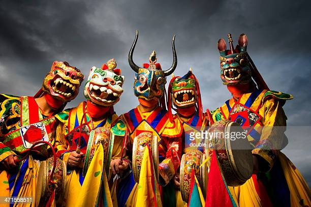 bhutan dancers - bhutan stock pictures, royalty-free photos & images