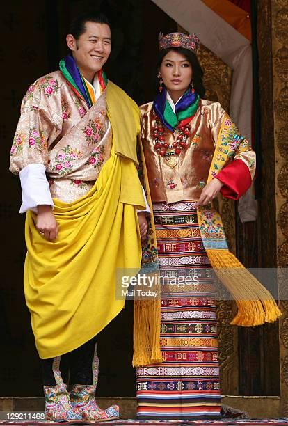 Bhutan King Jigme Khesar Namgyal Wangchuck and Queen Jetsun Pema after their wedding at the Punakha Dzong in Punakha Bhutan Thursday October 13 2011