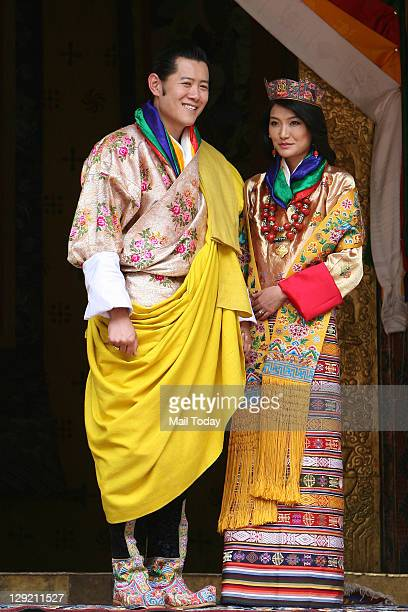 Bhutan King Jigme Khesar Namgyal Wangchuck and Queen Jetsun Pema after their wedding at the Punakha Dzong in Punakha Bhutan Thursday October 13 2011