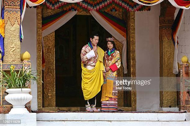 Bhutan King Jigme Khesar Namgyal Wangchuck and Queen Jetsun Pema after their wedding at the Punakha Dzong in Punakha, Bhutan. Thursday, October 13,...