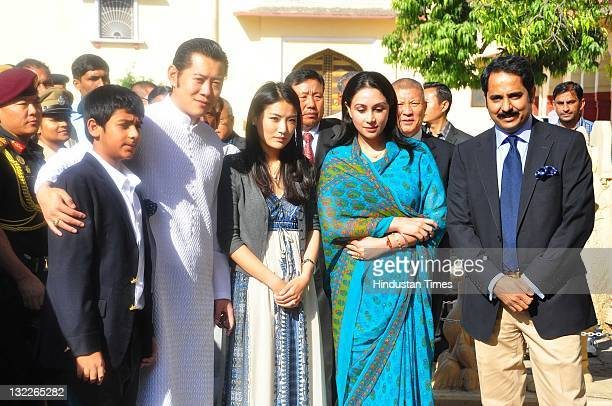 Bhutan King Jigme Khesar Namgyel Wangchuk and his wife Queen Jetsun Pema at the city palace alongside Jaipur's Erstwhile royal famiy's Narendra Singh...