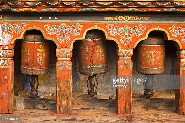 Bhutan - Old Prayer Wheels at Monastery