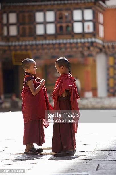 Bhutan, Paro, Dzong Monastery, Two Buddhist monks (6-8)