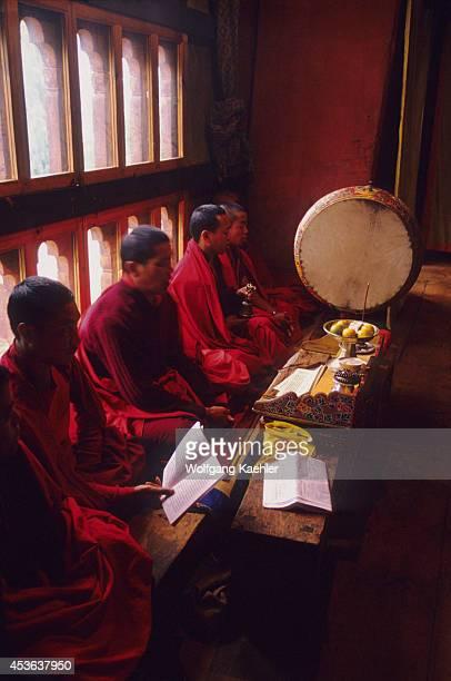 Bhutan Paro Monastery Monks Chanting