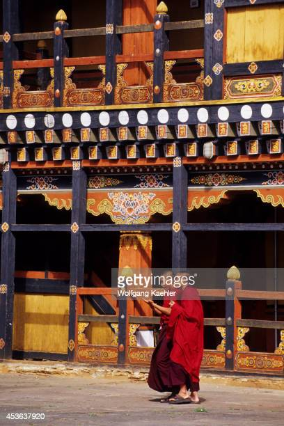 Bhutan Paro Rinpong Dzong Courtyard Colorful Painted Architecture Monks