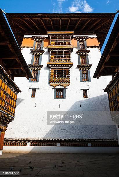 Bhutan, Paro. Tall central temple of Paro Dzong