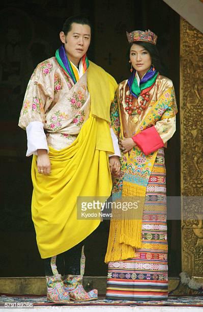 Bhutan - Photo shows Jigme Khesar Namgyel Wangchuck , the 31-year-old king of Bhutan, and his commoner bride Jetsun Pema who held their wedding...