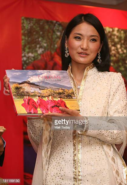 Bhutan Queen Jetsun Pema releasing Bhutan Through the Lens of the King a book of photos by King Jigme Khesar in New Delhi on Monday